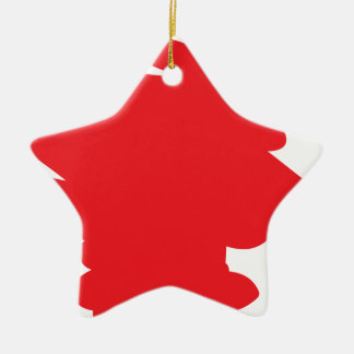 Red Splodge Ceramic Star Decoration