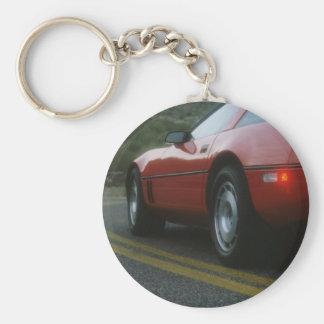 Red sport car - Corvetta Basic Round Button Key Ring