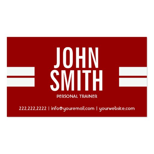 Red Sport Stripes Personal Trainer Business Card