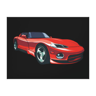 Red Sports Car Stretched Canvas Print