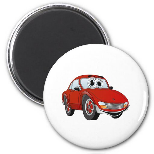 Red Sports Car Cartoon Refrigerator Magnets