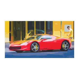 Red Sports Car in a Gas Station Canvas
