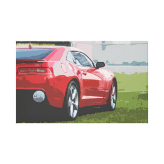 Red Sports Car on Grass Simple Design Canvas