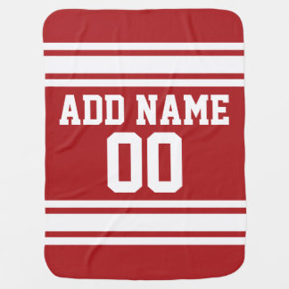 Red Sports Jersey with Your Name and Number Baby Blanket