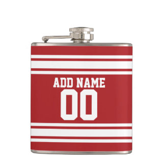 Red Sports Jersey with Your Name and Number Hip Flask