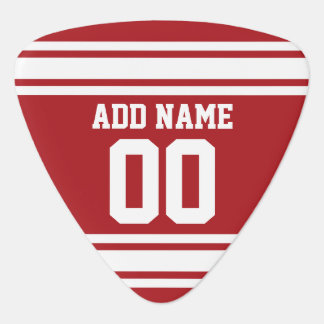 Red Sports Jersey with Your Name and Number Plectrum