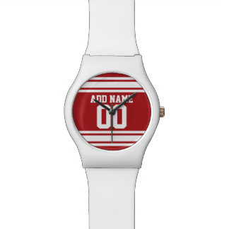 Red Sports Jersey with Your Name and Number Wrist Watch