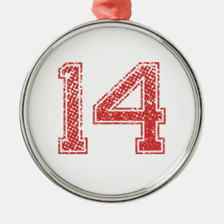 Red Sports Jerzee Number 14 Christmas Ornament