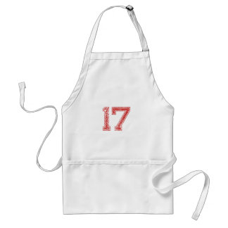 Red Sports Jerzee Number 17 Apron