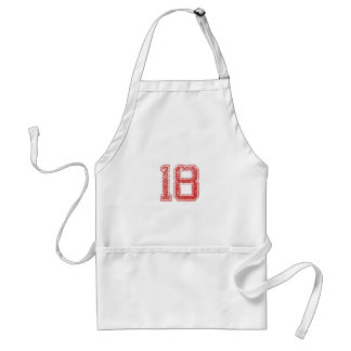 Red Sports Jerzee Number 18 Aprons