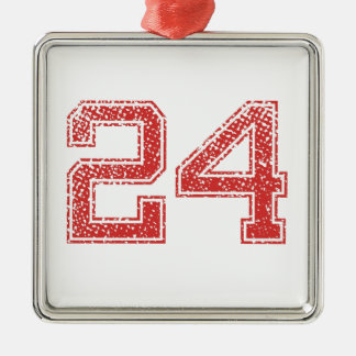 Red Sports Jerzee Number 24 Christmas Ornament