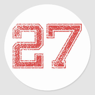 Red Sports Jerzee Number 27 Round Stickers