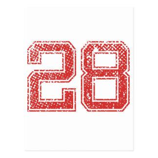 Red Sports Jerzee Number 28 Postcard