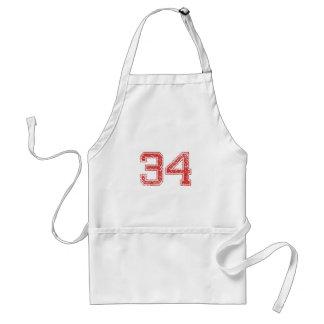 Red Sports Jerzee Number 34 Standard Apron