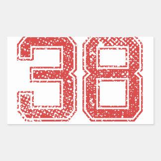 Red Sports Jerzee Number 38 Rectangular Sticker