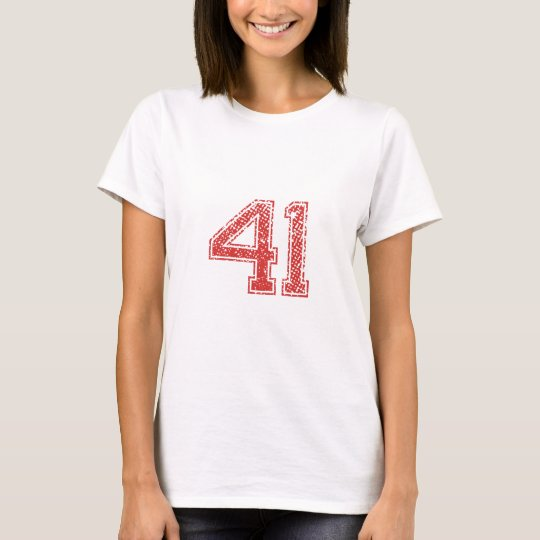 Red Sports Jerzee Number 41 T-Shirt
