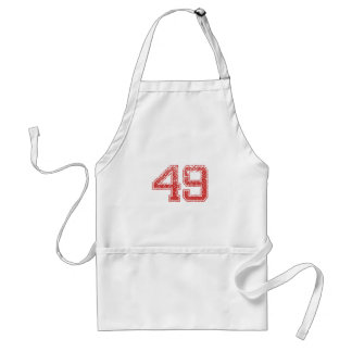 Red Sports Jerzee Number 49 Aprons