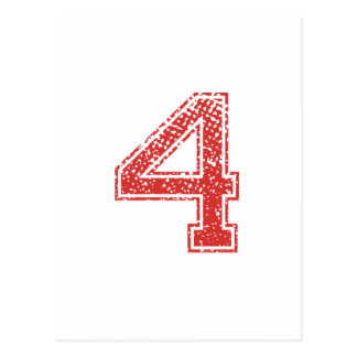 Red Sports Jerzee Number 4 Post Cards