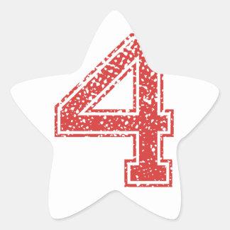 Red Sports Jerzee Number 4 Star Sticker