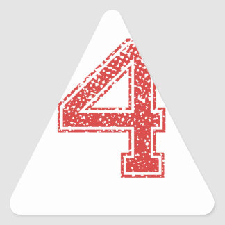 Red Sports Jerzee Number 4 Triangle Sticker