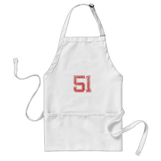 Red Sports Jerzee Number 51 Apron