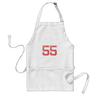 Red Sports Jerzee Number 55 Apron