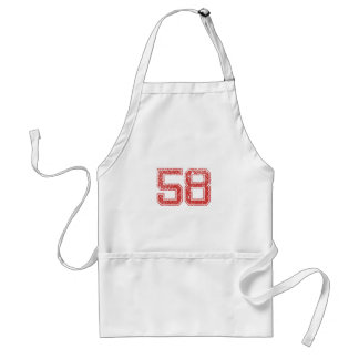 Red Sports Jerzee Number 58 Standard Apron