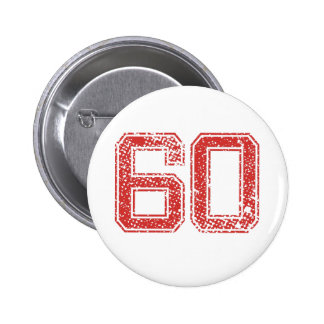 Red Sports Jerzee Number 60 6 Cm Round Badge