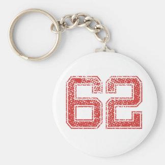 Red Sports Jerzee Number 62 Keychain