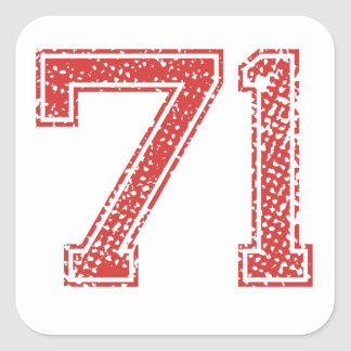 Red Sports Jerzee Number 71 Square Sticker