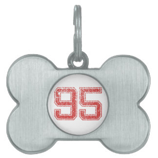 Red Sports Jerzee Number 95 Pet ID Tags