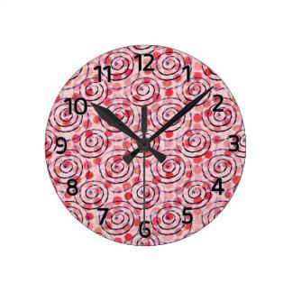 Red Spot Spirals Wall Clock