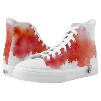 Red spot, watercolor abstract hand painted printed shoes