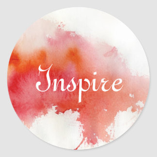 Red spot, watercolor abstract hand painted round sticker