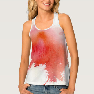 Red spot, watercolor abstract hand painted tank top