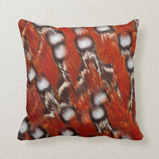 Red Spotted Feather Abstract Cushion