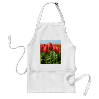 Red spring tulips garden aprons