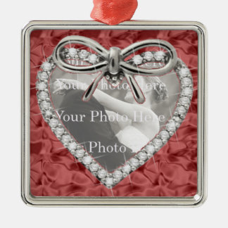 Red Square Diamond Heart Frame Ornament