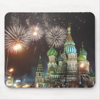 red square fireworks mouse mat