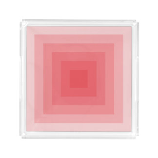 Red Square Geometric Acrylic Tray