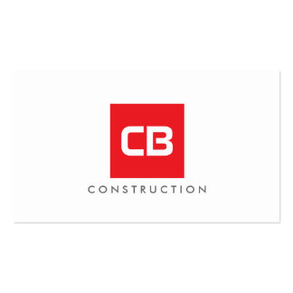 Red Square Monogram Construction, Electrical Pack Of Standard Business Cards