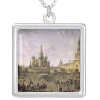 Red Square, Moscow, 1801 Square Pendant Necklace