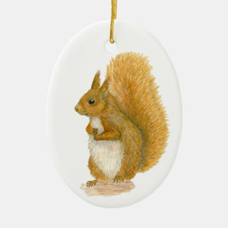 Red Squirrel Ceramic Oval Decoration