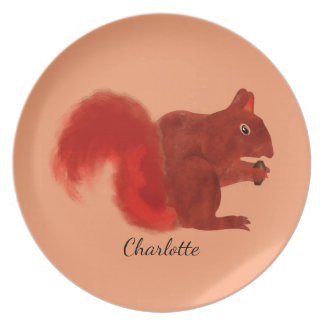 Red Squirrel Cute Woodland Animal Plate