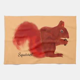 Red Squirrel Cute Woodland Animal Tea Towel