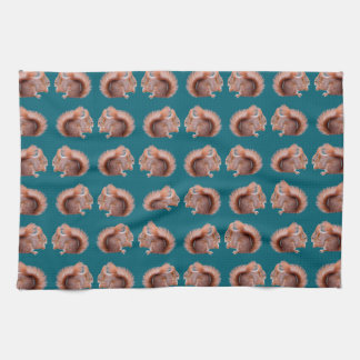 Red Squirrel Frenzy Kitchen Towel