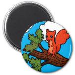 Red squirrel in oak tree fridge magnet