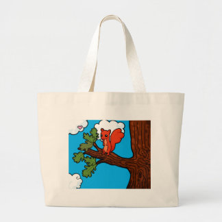 Red squirrel in oak tree large tote bag