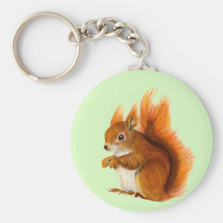 Red Squirrel Painted in Watercolor Wildlife Art Basic Round Button Key Ring