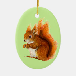 Red Squirrel Painted in Watercolor Wildlife Art Ceramic Oval Decoration